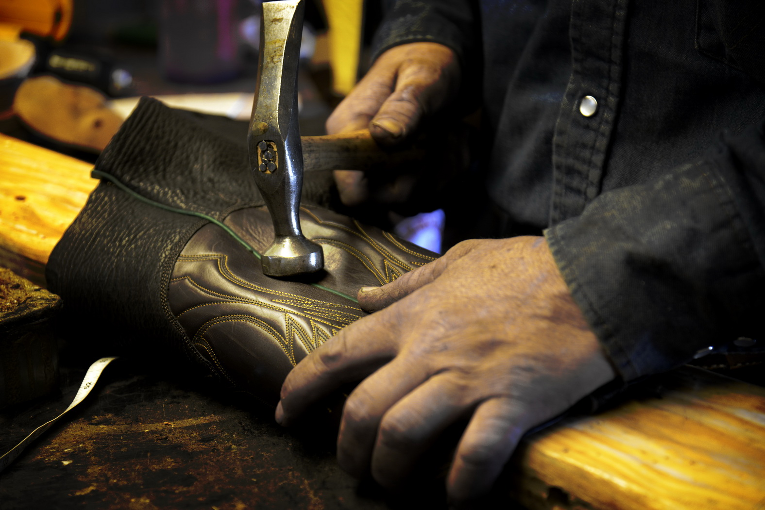 Handmade boots in making